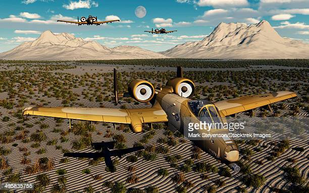 american a-10 thunderbolts flying in formation over a desert landscape. - us air force stock illustrations, clip art, cartoons, & icons