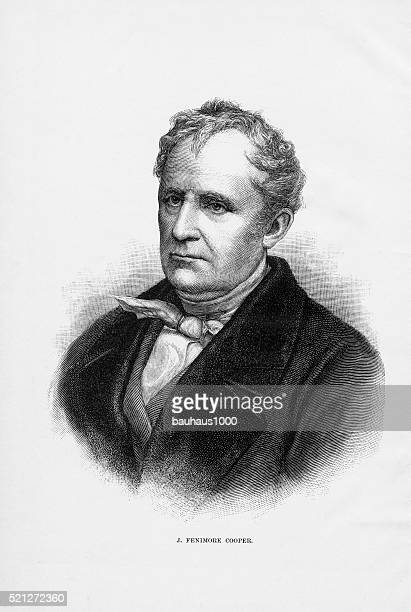 American Author James Fenimore Cooper Engraving, Circa1840