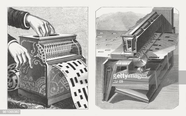 アメリカの手回しオルガンの機構、内部木材彫刻公開 1888 - 紙テープ点のイラスト素材/クリップアート素材/マンガ素材/アイコン素材