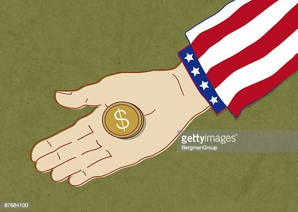 american charity - giving stock illustrations