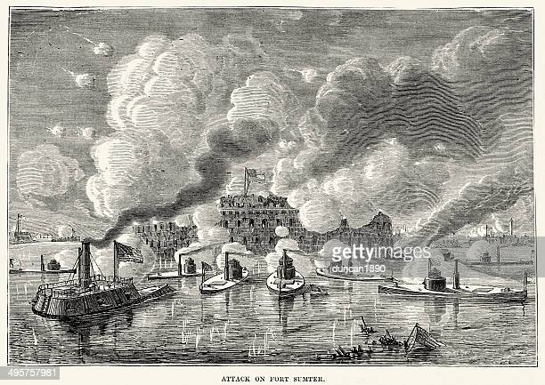 american civil war - attack on fort sumter - us navy stock illustrations, clip art, cartoons, & icons