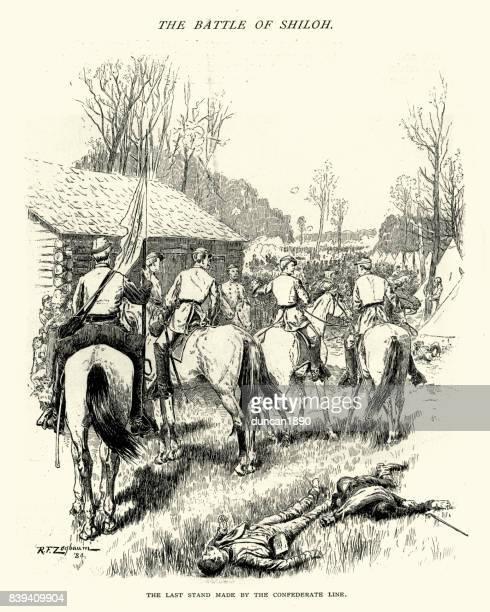 american civil war, battle of shiloh confederate last stand - american civil war battle stock illustrations