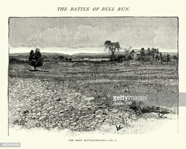 american civil war - battlefield of bull run, henry house - american civil war battle stock illustrations