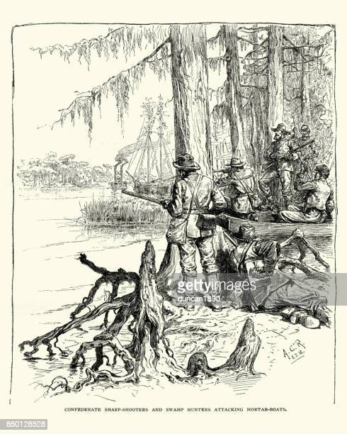 american civil war, confederate sharp shooters on the mississippi - special forces stock illustrations, clip art, cartoons, & icons