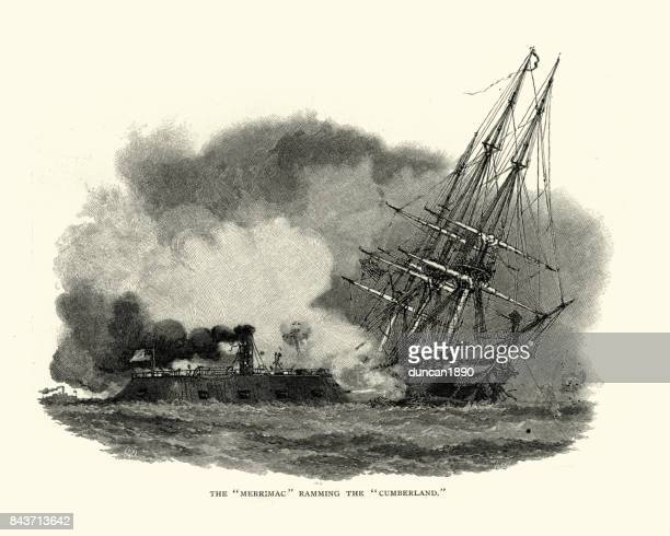 american civil war, css virginia ramming the uss cumberland - us navy stock illustrations, clip art, cartoons, & icons