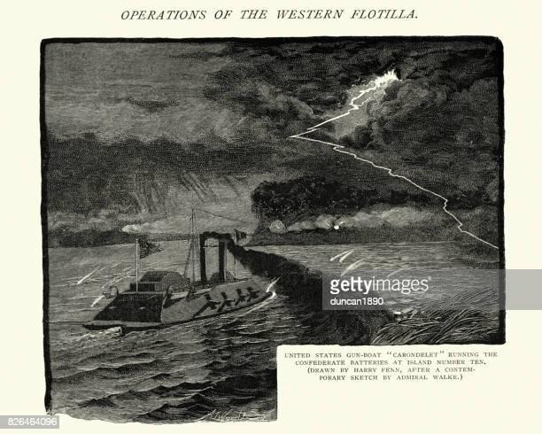 american civil war, gunboat carondelet running confederate batteries - us military stock illustrations, clip art, cartoons, & icons