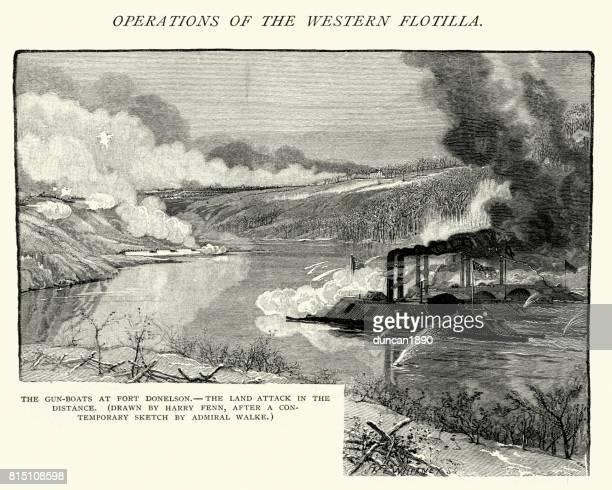 american civil war,  gunboats attacking fort donelson - american civil war battle stock illustrations