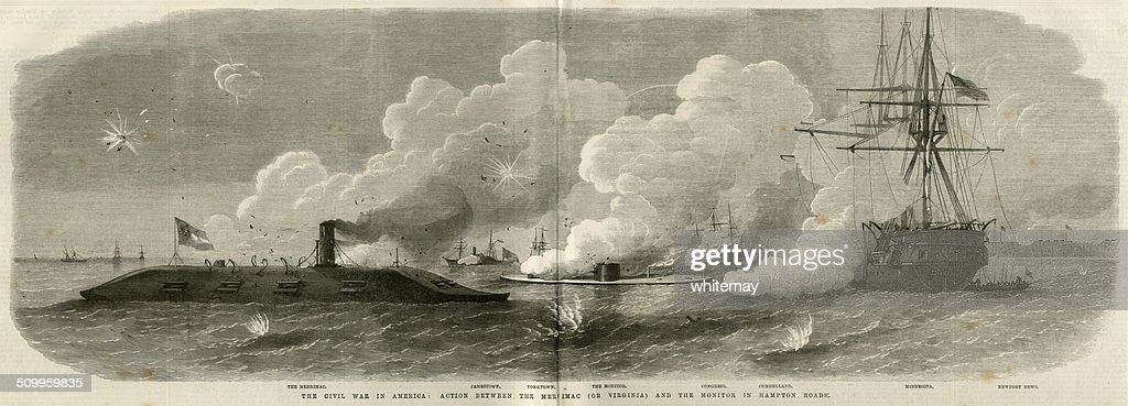 American Civil War naval battle with 'Merrimac' and 'Monitor' : Stock Illustration