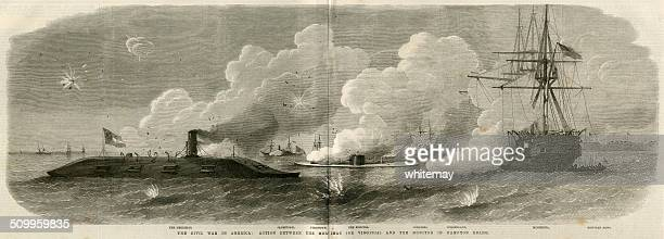american civil war naval battle with 'merrimac' and 'monitor' - us navy stock illustrations, clip art, cartoons, & icons