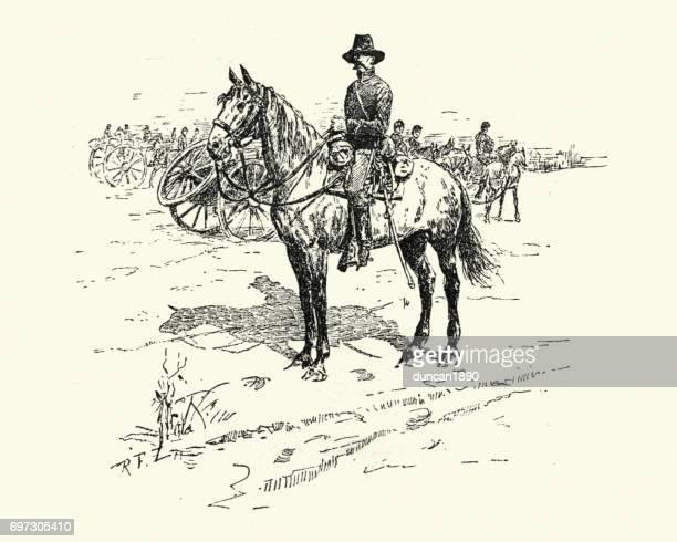 american civil war, union cavalry soldier - cavalry stock illustrations