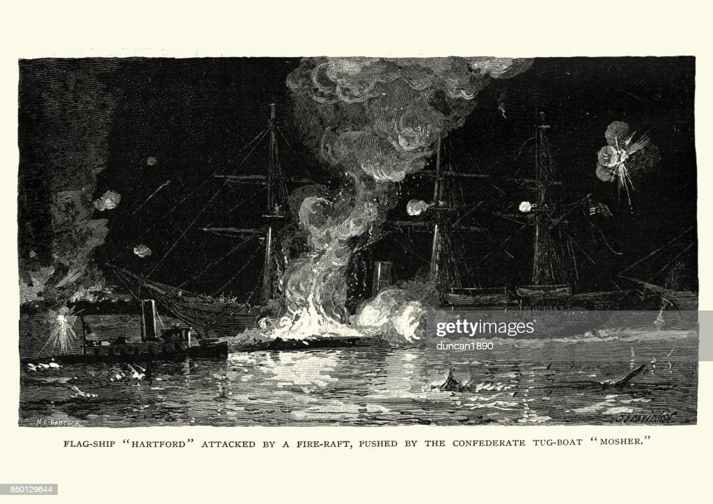 American Civil War, USS Hartford attacked by a fire raft : stock illustration