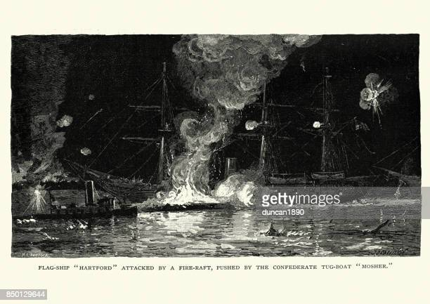 American Civil War, USS Hartford attacked by a fire raft