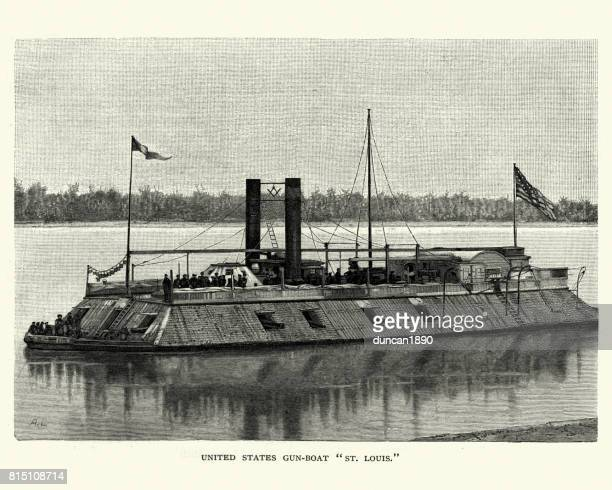 american civil war,  uss st. louis, city-classironclad gunboat - us navy stock illustrations