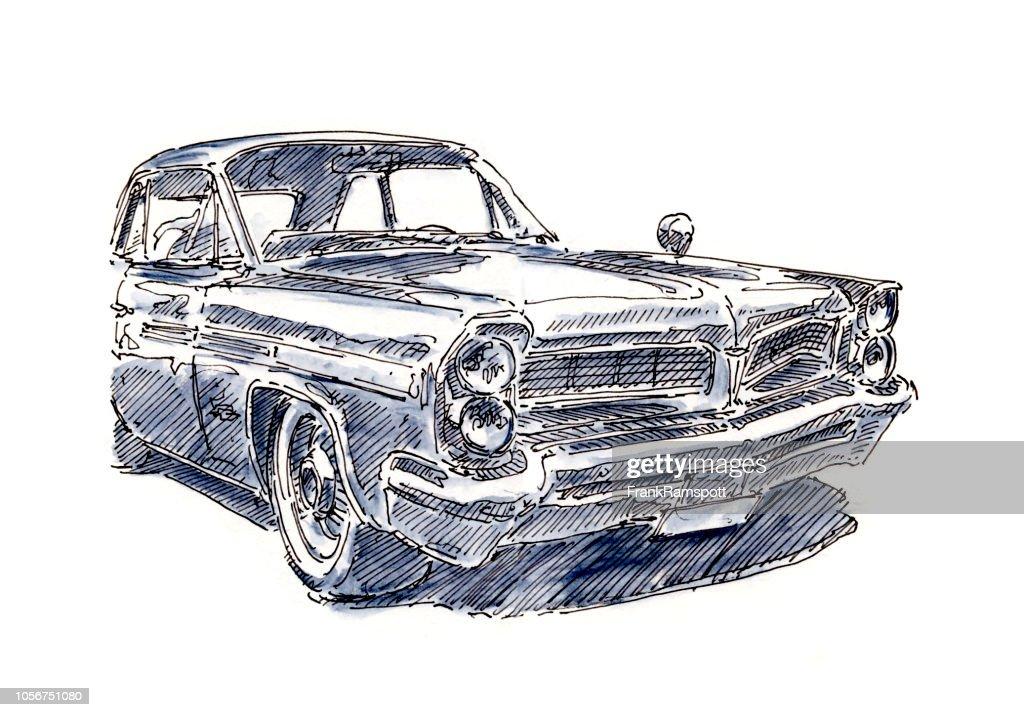 Amerikanische Oldtimer Limousine Tinte, Zeichnung und Aquarell : Stock-Illustration