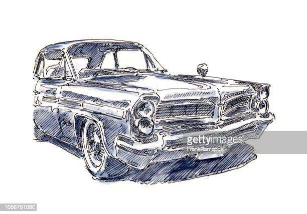 Amerikanische Oldtimer Limousine Tinte, Zeichnung und Aquarell