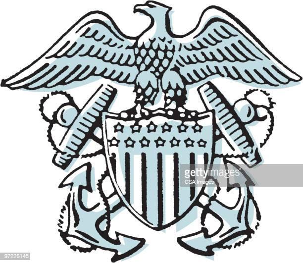 american crest - bald eagle stock illustrations