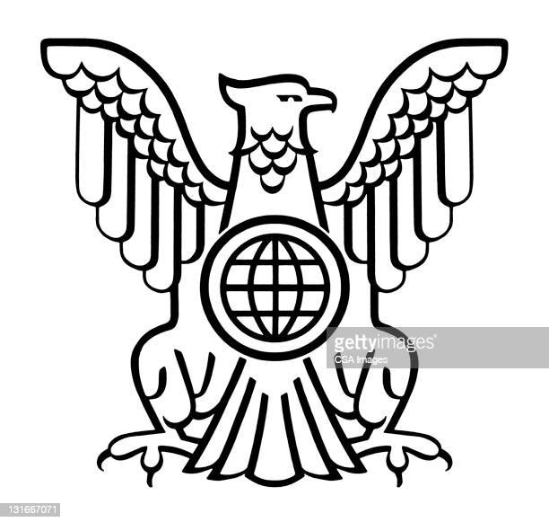 american eagle with globe - bald eagle stock illustrations