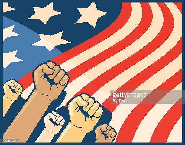 american flag fists - socialism stock illustrations