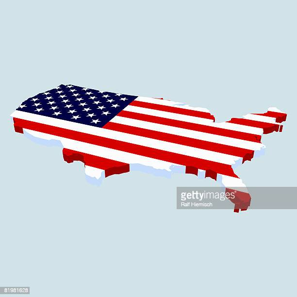 american flag in the shape of usa - american culture stock illustrations