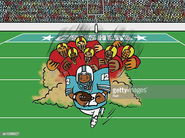 american football player being chased down the field by the rival team - obscured face stock illustrations, clip art, cartoons, & icons