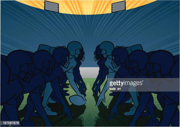 american football scene - scrimmage - traditional sport stock illustrations, clip art, cartoons, & icons