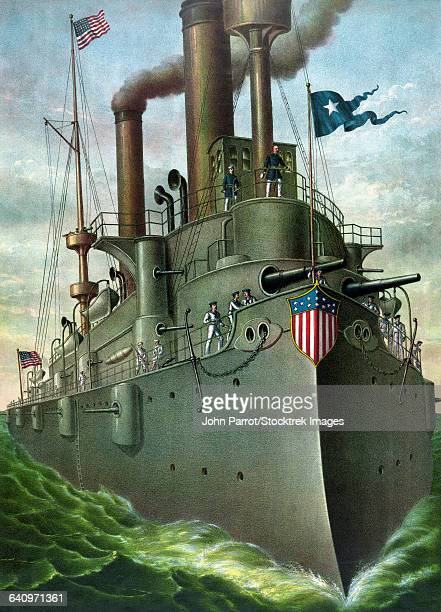 american history print of admiral george dewey standing on his flagship. - us navy stock illustrations, clip art, cartoons, & icons