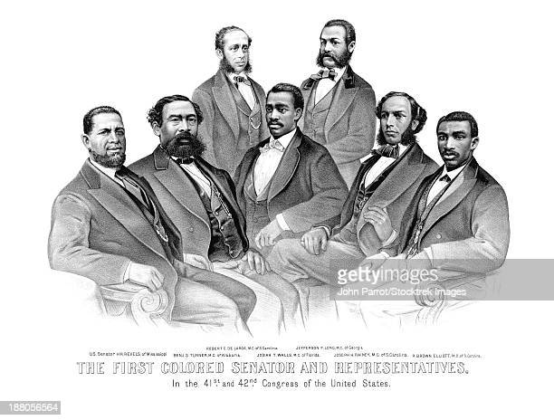 American History print of the first African American Senator and Representatives.