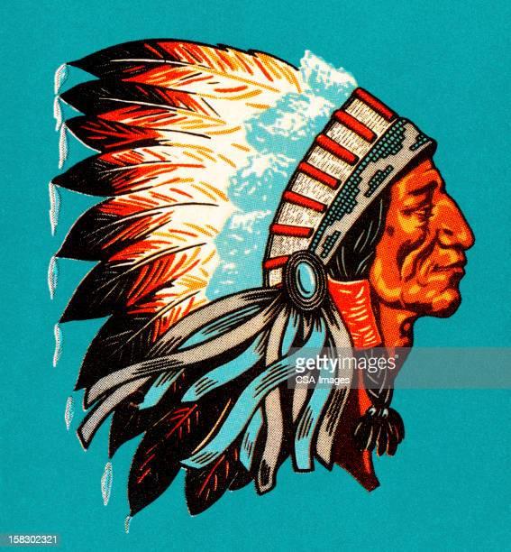 american indian chief profile - headdress stock illustrations
