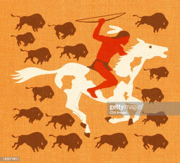 american indian man with buffalo - indigenous north american culture stock illustrations, clip art, cartoons, & icons