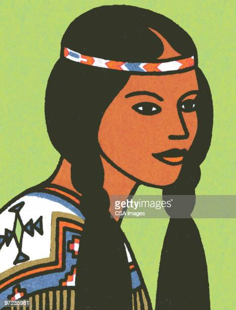 american indian woman - one young woman only stock illustrations