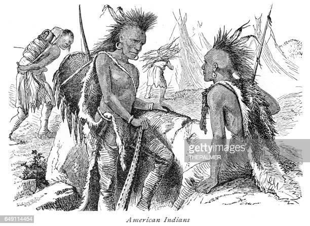 ilustraciones, imágenes clip art, dibujos animados e iconos de stock de indios americanos, grabado de 1875 - indios americanos sioux