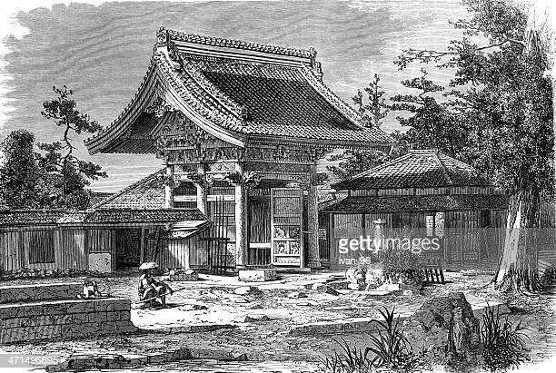 american legation in yedo - pagoda stock illustrations, clip art, cartoons, & icons
