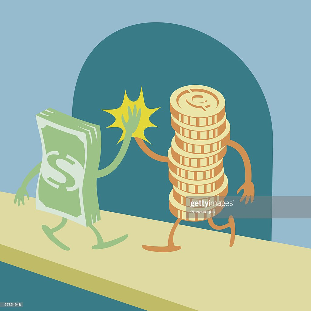 American paper currency and coins high fiving : stock illustration
