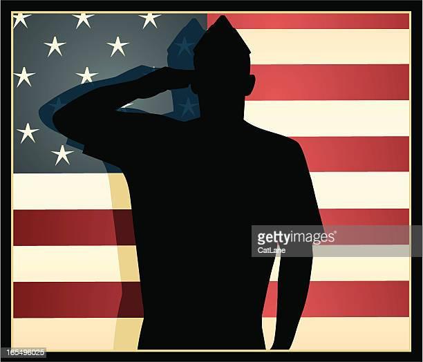 american patriot - saluting stock illustrations
