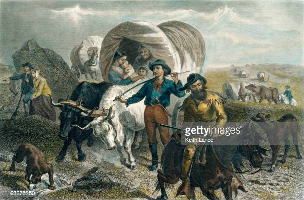 american pioneers crossing the plains in covered wagons - disembarking stock illustrations