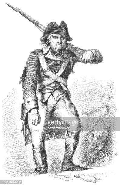 ilustraciones, imágenes clip art, dibujos animados e iconos de stock de soldado de la guerra revolucionaria americana en valley forge (siglo xviii) - american revolution