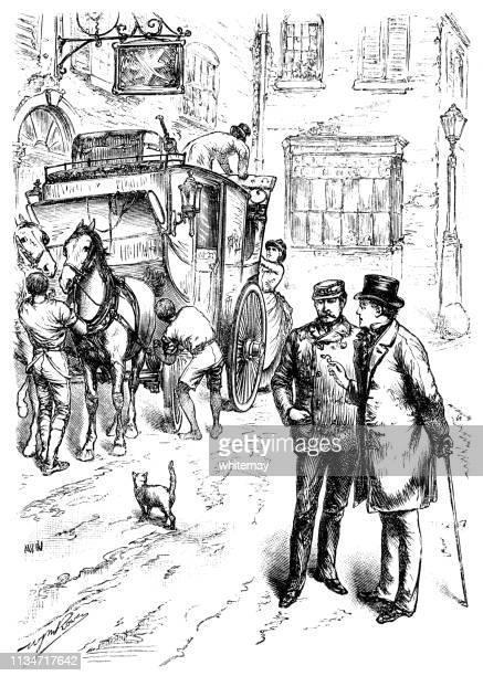 American sea captain talking to another man in the street as a stage coach is being loaded nearby