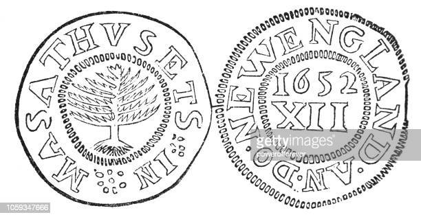 american silver pine tree shilling coin (1652) - finance and economy stock illustrations, clip art, cartoons, & icons