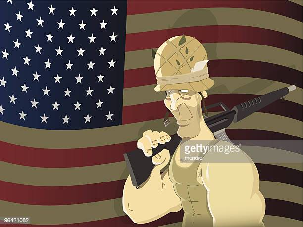 american soldier - us marine corps stock illustrations, clip art, cartoons, & icons