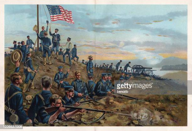 american soldiers hoisting us flag in cuba - trench stock illustrations