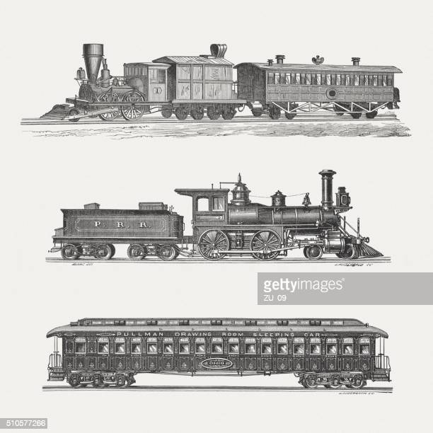 American steam trains, wood engravings, published in 1880