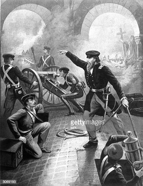 American troops attacking Mexico City during the Mexican-American War.