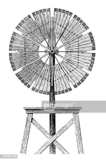 ilustraciones, imágenes clip art, dibujos animados e iconos de stock de bomba de viento americano - molino de viento