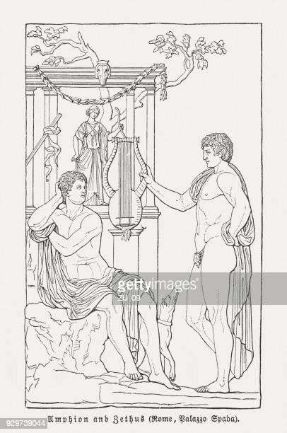 amphion and zethus (greek mythology), wood engraving, published 1897 - bas relief stock illustrations
