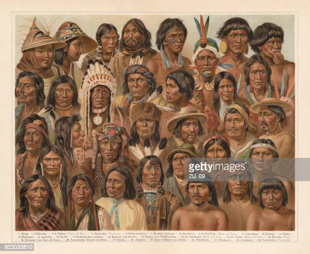 amrican native people, lithograph, published in 1897 - sioux culture stock illustrations