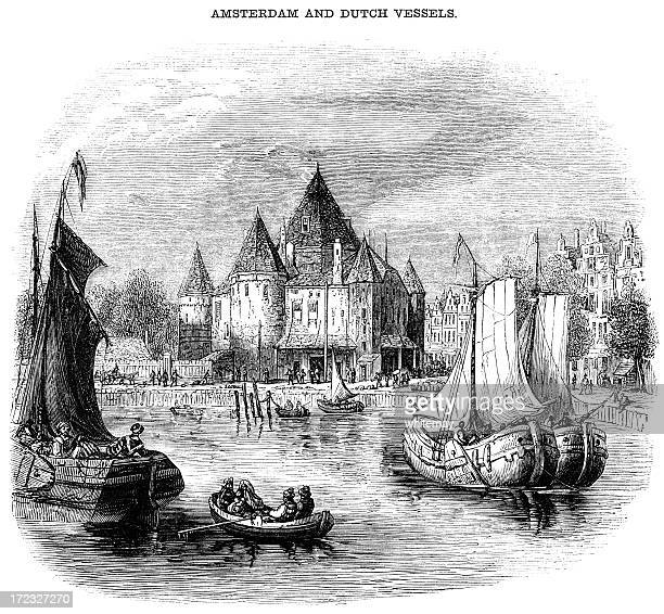 Amsterdam and Dutch vessels (Victorian woodcut)