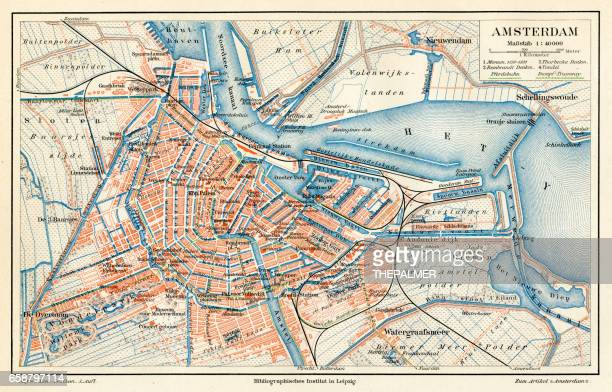 amsterdam city map 1895 - amsterdam stock illustrations, clip art, cartoons, & icons