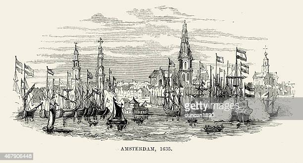 amsterdam in 1635 - amsterdam stock illustrations, clip art, cartoons, & icons