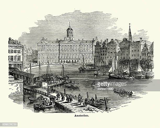 amsterdam in the 19th century - amsterdam stock illustrations, clip art, cartoons, & icons