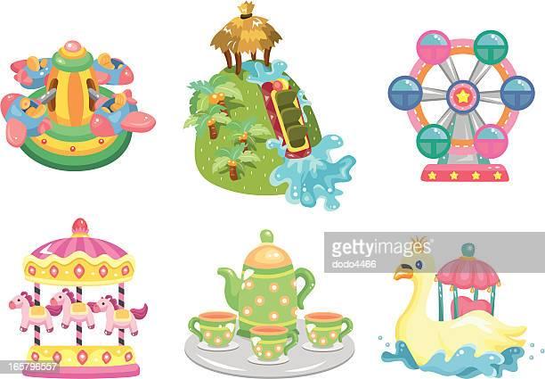 amusement park equipment - leisure activity stock illustrations